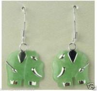 Cheap free shipping >>>>>Charming Jewelry jade elephant silver hoop earrings