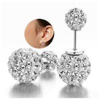 Wholesale ORSA Fashion Silver Shamballa Stud Earrings with Austrian Zirconia Crystal Platinum Plated Earring PE35