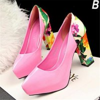 Cheap Womens Thick Heel Shoes Beautiful Flower Pattern Designer High Heel Pumps Stitching Color High Heels for Cheap Sales S0045