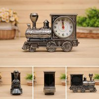 Wholesale 2015 Antique Train Locomotive Alarm Clock Table Desk Classic Cartoon Engine Clock Home Retro Decoration Students Gifts British style