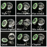 wire - Flat twisted wire Fused clapton coils Hive premade wrap wires Alien Mix twisted Quad Tiger Different Heating Resistance box for Ecig