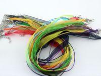 Wholesale 100pcs inch black silk ribbon necklace silk organza ribbon necklace