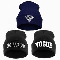 bad hair dye - Winter Bad Hair Day Beanie Women Men Diamond Beanies VOGUE Hat Knitted Ski Skullies Bonnet Crochet Casquette Gorros de lana