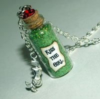 american girl glasses - 12pcs Little Mermaid Kiss the Girl glass Bottle Necklace with a Mermaid Charm Inspired necklace