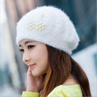 angora knit hats - New Brand Hot Sale Women Beanie Winter Handmade Hat Pearl Angora Knitted Beret Wool Hat Rex Rabbit Fur Beanies SK80035