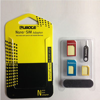 Wholesale 5 in metal Nano SIM Card Micro SIM Card Standard sim Converter Adapter Adaptor for iPhone all cellpone with Eject Pin