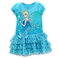 go go costume - baby girl kid frozen dress anna elsa dress cotton dress princess costumes tutu dress FROZEN pettiskirt blue let it go lace dress ballet
