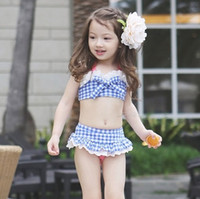 Girl Two-piece 8T-9T Summer Baby Swimsuit Bikini Infantil Swim Bathing Suit Skirt Swimwear Straps Plaid Printed For Girls Kids ruffled swimwear swimsuit NN-077