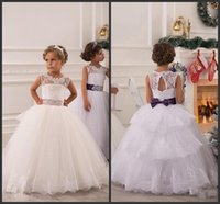 beaded graduation gift - Lovely Flower Girl Dresses For Wedding Cheap Kids Formal Wear Tulle Ball Gown Birthday Gift Girls Pageant Gown With Beaded Satin Belt