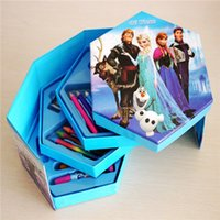 Wholesale 2015 Frozen Children Watercolor Painting Set Stationery Set Pen Gift Set birthday gifts Christmas gifts box