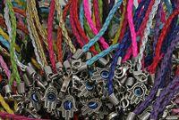 al por mayor mano pulsera de cuero encanto-Forme a joyería los Silvers de la vendimia del ojo malvado de Kabbalah de la mano tejen los brazaletes de la pulsera de los encantos de cuero para los accesorios de la ropa de las mujeres 50pcs Z1451