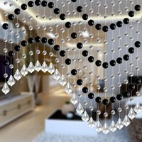 Wholesale Black to mix with clear smooth beads can be porch partition door window glass crystal beads curtain Home decoration The wedding venue layout