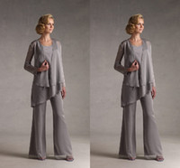 Wholesale 2015 Mother s Pants Suits with Matching Long Sleeve Jacket Cheap Personalized of the Bride Groom Wear Plus Size Chiffon Bridal Party Gowns