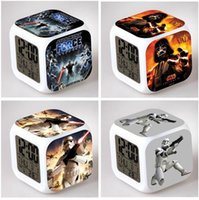Wholesale 61 Styles D Cartoon Star Wars Square Digital Alarm Clock Led Color Change Darth Vader Clock Christmas Decoration Gift Clock R1433