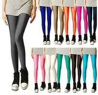 Wholesale Milk Silk Fluorescence Leggings Candy Color High Elastic Thin Leggings