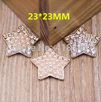 Cheap Wholesale Lovely Stars Shape Pearl Rhinestons Paves Gold Tone Plated Metal Alloy Flatback Buttons For Diy Hairband Decoration