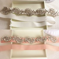 Wholesale Luxury Hand Made Crystal Bridal Belts Wedding Dresses Sashes Charming Ivory Pink Satin Long Belts Bridesmaid Women Evening Party Gowns Belts
