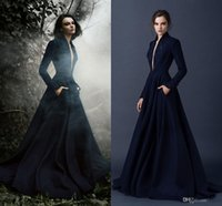 blue deep clothing - Navy Blue Long Sleeves Winter Evening Dresses Deep V Neck Hot Sale A Line Royal Empire Waist Prom Gowns Coat Beading Lady Clothe