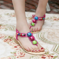 beaded sandles - 2015 hot New Summer Low Heel Shoes Beaded Bohemian Sandals For colorful summer shoes flat sandles