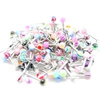 barbells sale - hot sale labret lip rings mix colors body piercing jewelry stainless steel barbell acrylic ball labret piercing rings jewelry