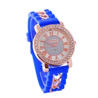 Wholesale Silicon Brand Wrist Watches - China Market 2015 Fashion Geneva Quartz Watches Silicon Wrist Band Ladies Crystal Embellised Watches Brands W-037