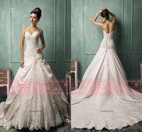 Cheap 2016 Amelia Sposa vestido de noiva Vintage Backless Wedding Dresses Sweetheart Embroidery Beaded Lace Satin Corset Back Chapel Train AS1272