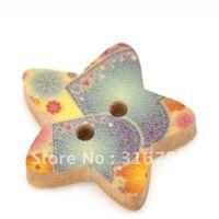 Cheap 100 Pcs Star Shape 2 Holes Wood Sewing Buttons Scrapbook 18x17mm Knopf Bouton(W01522 X 1)