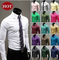 dress shirts - Plus Size M XXXL Christmas Newest Mens dress shirts Candy Slim Fit Luxury Casual Stylish Dress Shirt Colors BY DHL