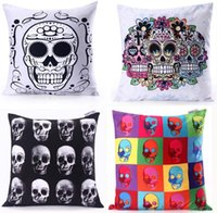 Wholesale Skulls Custom Sofa Cushion Covers cm Flower Skull Halloween pillow covers home car office wedding decoration pillow cases