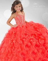 achat en gros de robes de pagent perles-Robe Custom Robes Sparkly Flower Girl Robes Pagent Grils Halter robe de bal en organza de 2016 Coral Fille cristal perlé Little Girl fait