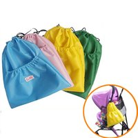 baby shopper - Portable Fold Drawstring Nylon Storage Bag Reusable Large Capacity Shopper Sack Pushchair Baby Nappy Organizer Hanging Pouch