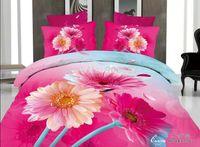 Cheap magenta daisy flower print comforter quilt cover girls wedding bedding set cotton full queen size adult bedroom decor bedspread