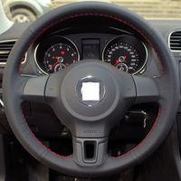 Black santana - XuJi Black Genuine Leather Suede Steering Wheel Cover for Volkswagen Golf Mk6 VW Polo Sagitar Bora Santana Jetta