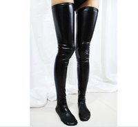 Men latex stockings - Black Latex Stockings Wet Look Vinyl Fetish Faux Leather Stocking for Women LC7796