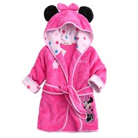 Wholesale Retail Children Pajamas Bathrobe baby boy girl dressing gown flannel nightgown kids winter sleepwear hooded robe Cartoon Minnie tiger