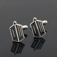Wholesale Statement Luxury Cufflinks Men s Jewelry Letter Tie Clips Cufflinks Doctor Who Black Metal Cufflink Accessories Movie Jewelry
