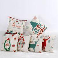 Wholesale Christmas Pillow Case Linen Cushion Cover Santa Claus Reindeer Pillow Case Christmas Decoration Xmas Decor Ornaments Styles