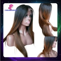 Cheap Ombre Color full lace human hair wigs Best Straight Peruvian Hair lace front hair wigs