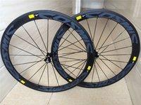 Wholesale k T1000 mm blue decal full carbon fiber road carbon wheels V shaped bicycle wheels powerway ceramic bearing hubs wheels