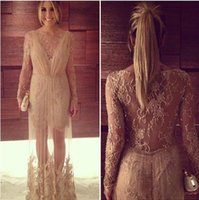 beaded sequined lace fabric - Illusion Evening Dresses Long Sleeves Party Prom Gowns With Beading Column Crew Neck Zip Back Floor Length Lace Fabric