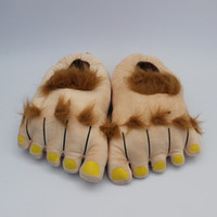 Wholesale Furry Adventure Slippers Winter Indoor Toe Big Feet Warm Soft Plush Slippers Novelty Gift Adult Shoes Brown Unisex CM