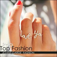 Wholesale 2014 Export On Line European and American Fashion Models Wild Romantic Couple Hand Twisted Letters LOVE YOU Heart Ring S42324