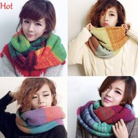 Ring knit circle scarf - 2015 New Lovers Winter Ring Scarf New Women Men Warm Knit Neck Circle Acrylic Long Scarves Shawl Crochet Wrap Mixed Colors Colorful SV011943