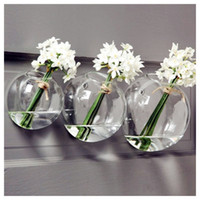 Wholesale 3PCS Glass Air Plant Holders Wall Glass Vase Wall Bubble Terrarium fighting fish tank for home decoration indoor wall planters