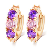amethyst stud earrings yellow gold - Magnificent Amethyst K Yellow Gold Filled Womens Hoop Earrings Hot Fashion Gift Jewelry