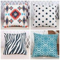 Wholesale Throw Pillows Cushion Cover Bohemian Fashion Geometry Striped Starfish Floral Pillow Case Linen Cotton Sofa Cushions Covers x45cm