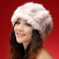 Wholesale 14635 New Knitted Real mink fur hat cross mink visor fur cap headgear headdress head warmer