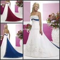 Wholesale Hot Sale Ivory White and Blue Red Purple Black Wedding Dresses Strapless Satin Embroiery with Beads A line Plus Size Bridal Gown