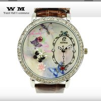 alligator belt straps - Factory Outlet Ladies diamond butterfly pattern fashion watches watch D stereo with alligator leather strap WA0372x