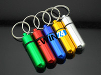 aluminum medicine - Aluminum Pill Box Case Bottle Holder Container Keychain Medicine Organizer Container Good Quality Hot Sale